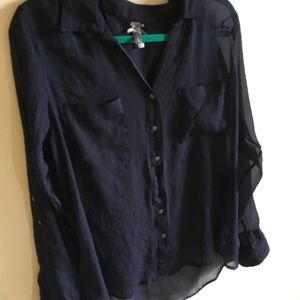 VANITY Sheer Button Up Blouse